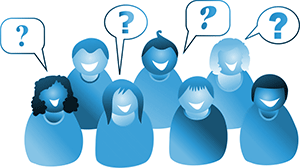 Image representing a group of people asking questions